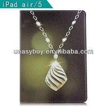 Fashion rhinestone design Diamond Flip Stand Leather Case For ipad air