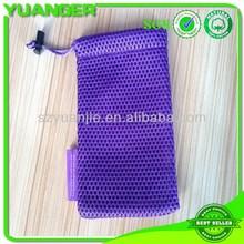 2014 bottom price cheap blue drawstring mesh duffle bag