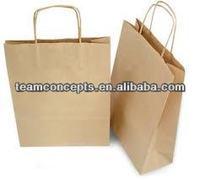 Printed Flat Handle Brown Kraft Paper Bags