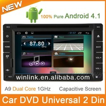"2014 Newest 6.5"" Pure Android 4.1 Capacitive Screen car dvd gps 2 din universal support 3G free wifi"