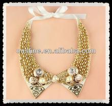Popular Pearl Button Fake Collar, Lady Neckline Decoration, Golden Beads Neckpiece