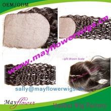 full silk lace frontal closures Malaysian deep curl hair invisible part closure piece virgin remy human hair