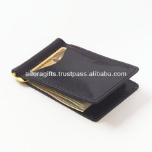ADAMCW - 0054 thin leather wallets with money clip / best money clip wallets / customized metal money clip wallets