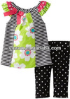 Super Cute Girls Outfits Short Sleeved Flower Printed Collar Cotton Tops Cotton Pants Children Casual School Set