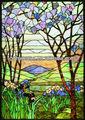 Cristal tintado árbol flor para ventana de iglesia, decoración de hogar, villa