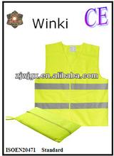 Geel klittenbandsluiting Reflecterende Emergency Vest met tas Conform ENISO20471