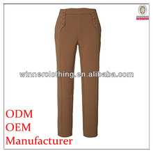 Factory high fashion slim fit khaki long 100% cotton trousers for summer