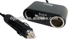 12V Twin Cigarette Socket Adaptor with 2 x USB Charging Sockets