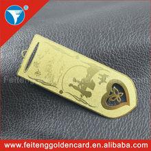 Best quality best price custom shape metal bookmark, blank metal bookmark, etch out metal bookmark