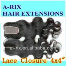 """Chinese Virgin Lace Closure 4x4"""" Human Hair Closure bleach knots"""