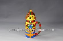 decorative porcelain salt and pepper bottle with handle