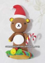Custom handmade christmas Mr Bean's bear decorations soft polymer clay