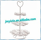 High quality classic powder caoted wire cake stand/gold wedding cake holder display rack