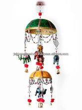 Gorgeous Indian Handmade Wall Hanging/Hanging Elephant Parasol Bird Bell