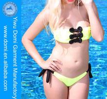 Handcrafted Bowknot Detail Sexy Bandeau Scrunch Back Bikini Swimsuit / www Sex Com Ladies Sexy Bikini / Sexi Open Bikini