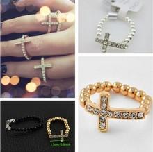 Hand made Sideway cross Rings ,Beaded Crystal Cross Ring/Elastic Ring