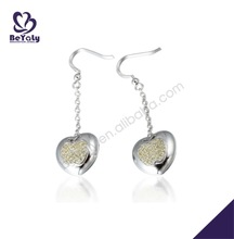 Satin finish smooth fashion heart shape silver shell earrings