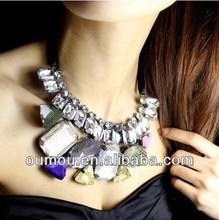 Big Gem Women Necklace Satin Silk Ribbon Chain