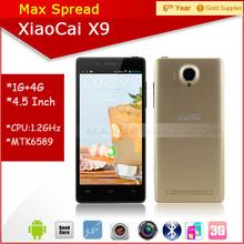 Hottest!! 5 inch QHD mtk6582 quad core 1.3GHz 1gb ram 4gb rom dual camear dual sim xiaocai x9 gold smartphone
