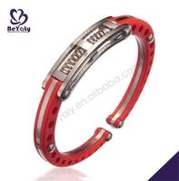 Happy red tone flexible stainless steel samoan bracelet