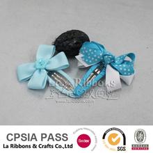 bule ribbon wrapped metal hair clips