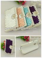 Rhinestone bling silk wallet flower leather case skin card slot For samsung Galaxy i9300 s3 s4 i9500 2 n7100 N9000 note 3 III