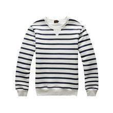 Men's wear stripes round collar fleece hoodies