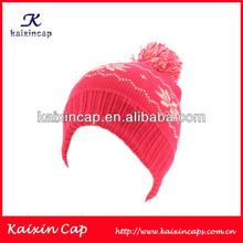 Custom Acrylic Children Knitted Winter Beanie with Flower Pattern/Wholesale Child Beanie Hat