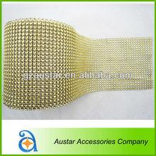 Wholesale Gold Imitation Diamond Mesh Rhinestone Ribbon for craft