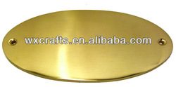 oval shape gold plated blank metal plate