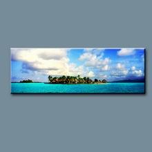 Handmade landscape oil painting on canvas, Caribbean Beach Resort Boats