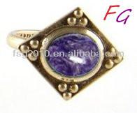 RI-US-0317 men's silver rings Natural Charoite ring stone model, charoite stone