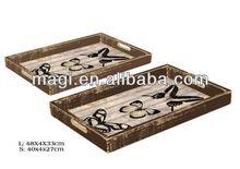 Antique Butterfly Wooden Rectangular Trays