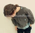 girl fashion cutting blouse, plaid design blouse for girl