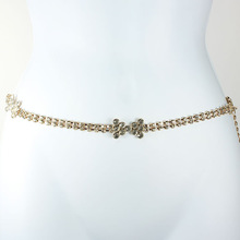 crystal bow rhinestone chain belt