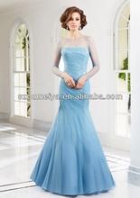 OUMEIYA OEM249 Elegant Soft Tulle Mermaid Light Blue Mother of the Bride Dresses with Long Sleeve 2014