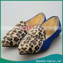 Metal Head Leopard Flat New Single Shoes for Pregnant Women 39 Yard Blue