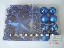 fashion blue christmas plastic boxed set decorations for tree