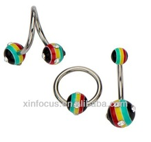 14g assorted rasta jewelry. All acrylic balls with gems in a twist, CBR and navel barbell