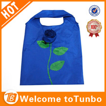 2014 Chinese style polyster rose flower folding shoping bag manufacturer