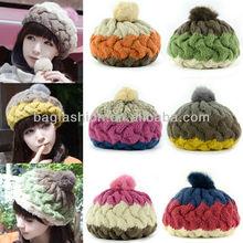 Women's Winter Knit Hat Splicing Color Wool Warm Cap Baggy Beanie Headwear
