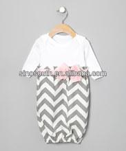 Gray Zigzag Bow Minky Gown Fashion Swing Dress For Baby Girls