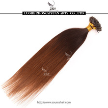 ZSY China top10 hair factory supply remy ombre nail brazilian fusion hair extension