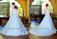 Newest Modest V Neck Sleeveless A-Line Applique Lace Floor Length Ice Blue Bridal Wedding Dress