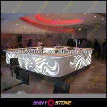 Customized Big Size Square Acrylic Solid Surface Wine Bar Table with Light