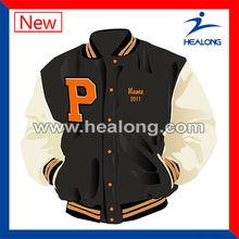 professional varsity jacket with leather sleeves