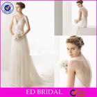 XL445 2014 alibaba cap sleeve deep v neckline lace covered back islamic women wedding dresses