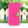 New Arrival Luxury Crystal Diamond Bling Charming PU Leather Case For Apple iPhone 5 5s