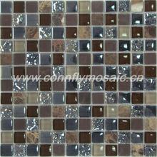 Crystal mixed Stone Brown Mosaic Construction Materials