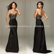 New Arrival EV0071 Sweetheart Neckline Black Floor Length Sexy Open Low Back Leopard Print Evening Dress